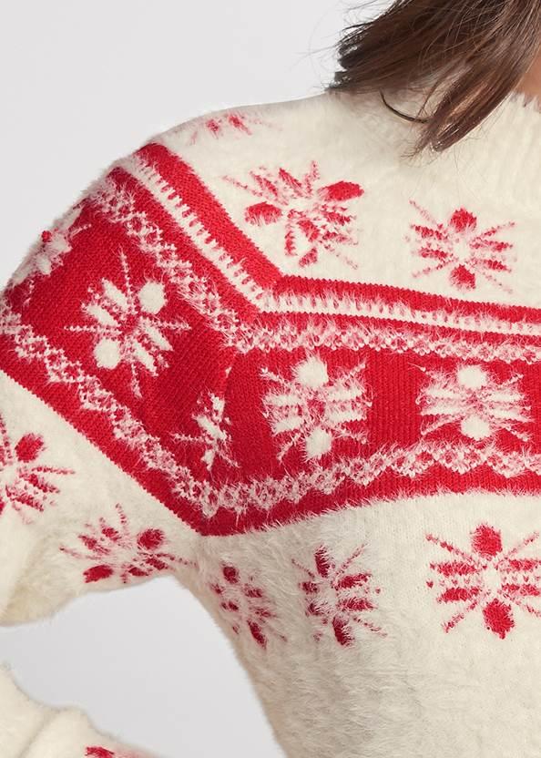 Detail front view Snowflake Eyelash Sweater