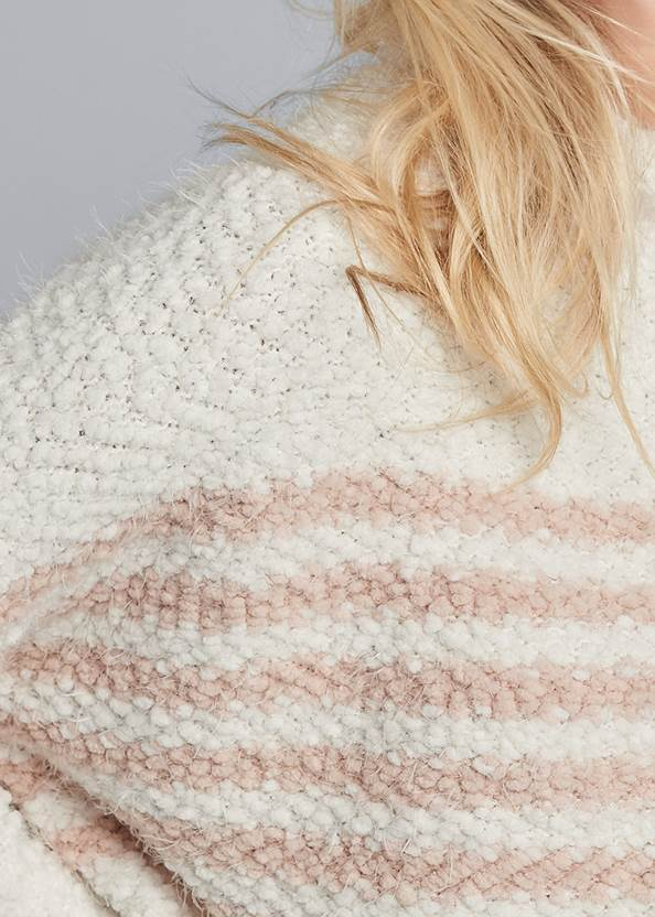 Detail front view Striped Mock Neck Sweater