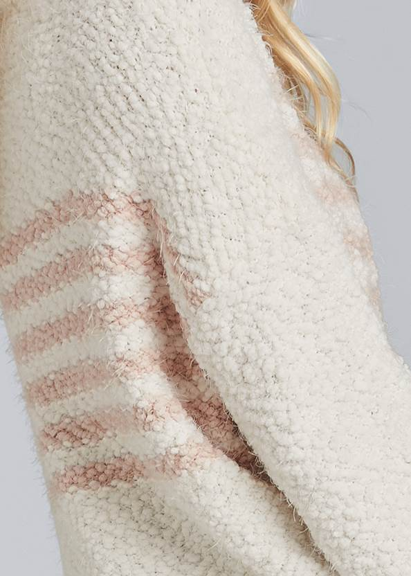 Detail back view Striped Mock Neck Sweater