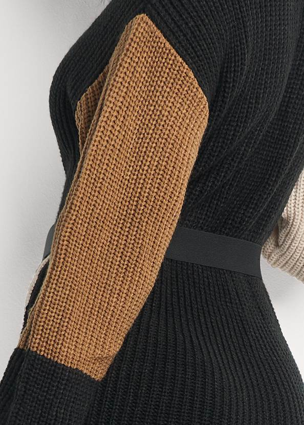 Detail back view Color Block Sweater Dress
