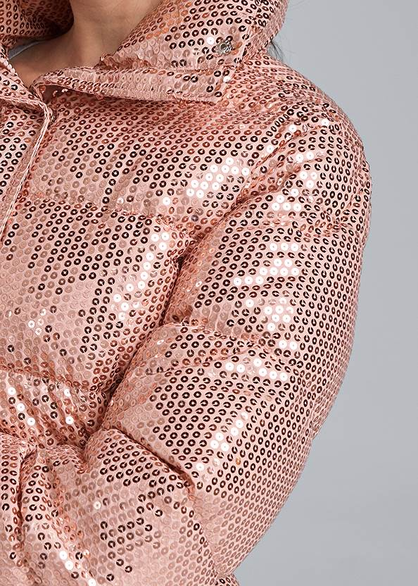 Detail front view Sequin Puffer Jacket