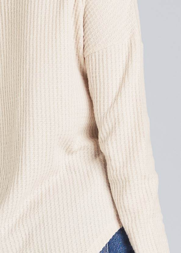 Alternate View Lace Up Waffle Knit Top