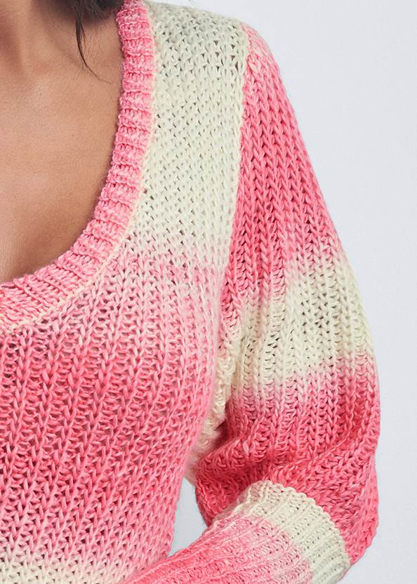 Detail front view Ombre Striped Sweater