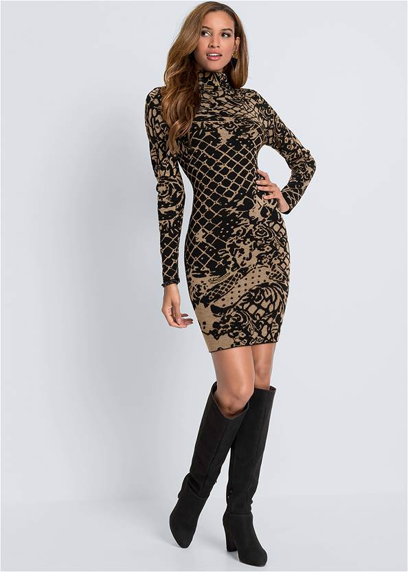 Full front view Bodycon Sweater Dress