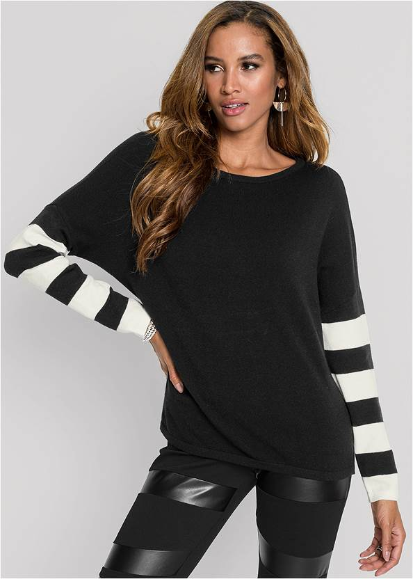 Stripe Sleeve Sweater,Faux Leather Pants,Faux Leather Leggings,Lace Up Back Detail Boots,Hammered Fringe Earrings,Studded Faux Leather Tote