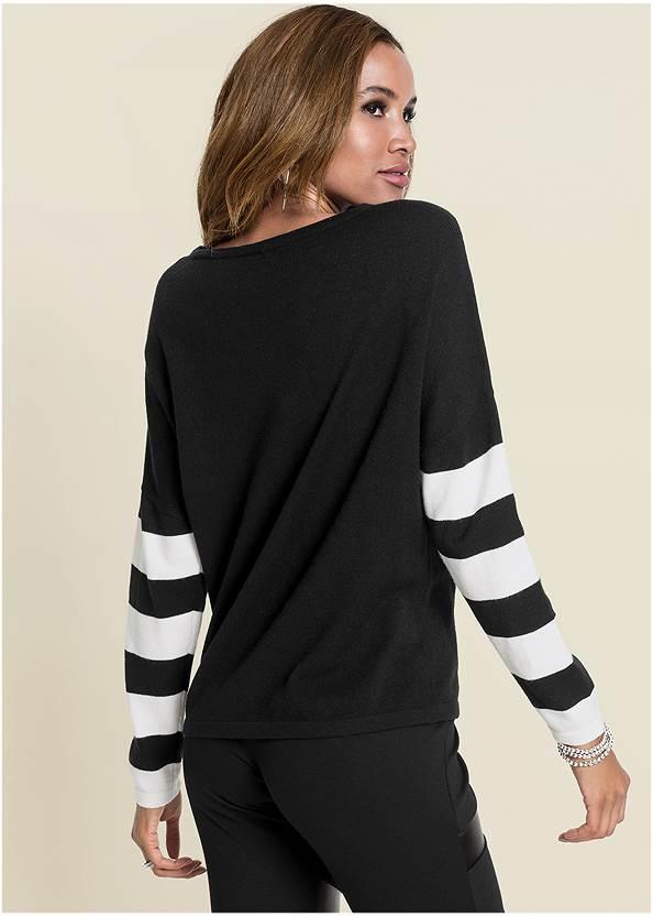 Back View Stripe Sleeve Sweater