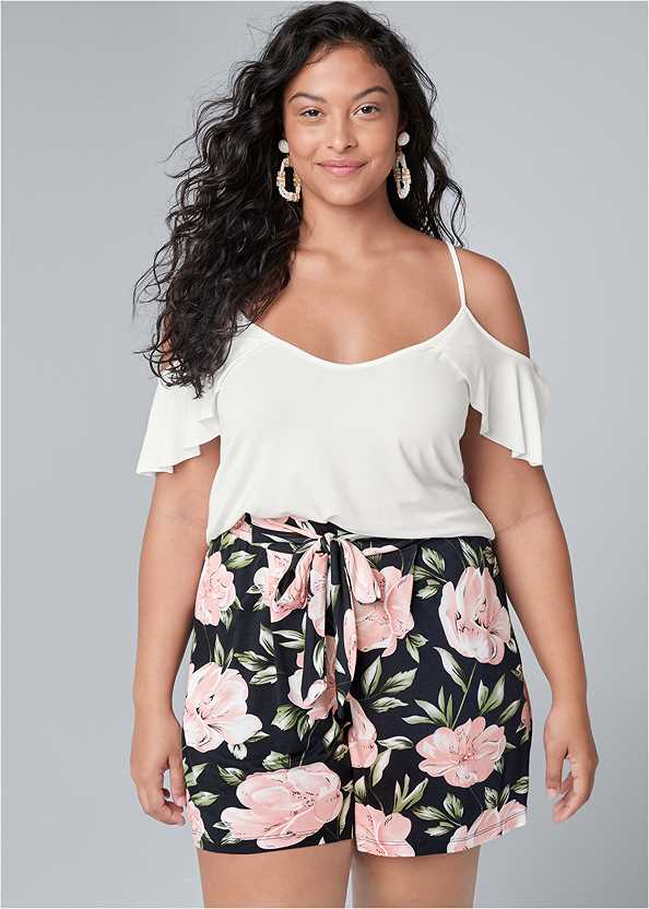 Floral High Waisted Shorts,Ruffle Cold Shoulder Top,Basic Cami Two Pack,Cropped Puff Sleeve Denim Jacket,Essential Espadrille Wedges,Double Strap Cork Wedge,Beaded Rope Earrings