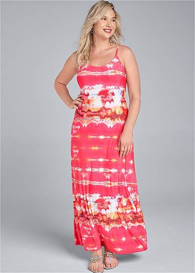 Plus Size Batik Printed Maxi Dress