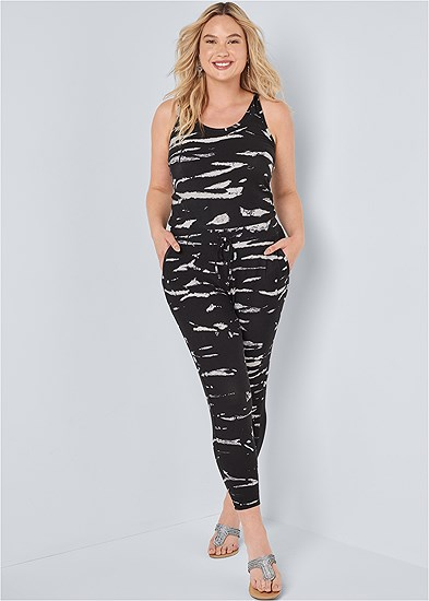 Plus Size Easy Tie Dye Lounge Jumpsuit