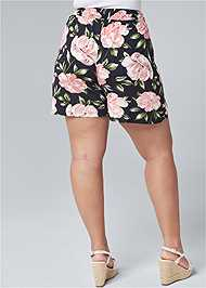 Cropped Back View Floral High Waisted Shorts