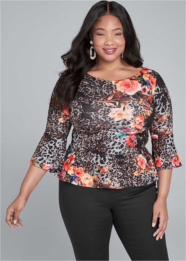 Floral And Leopard Print Peplum Top,Mid Rise Slimming Stretch Jeggings,Beaded Rope Earrings