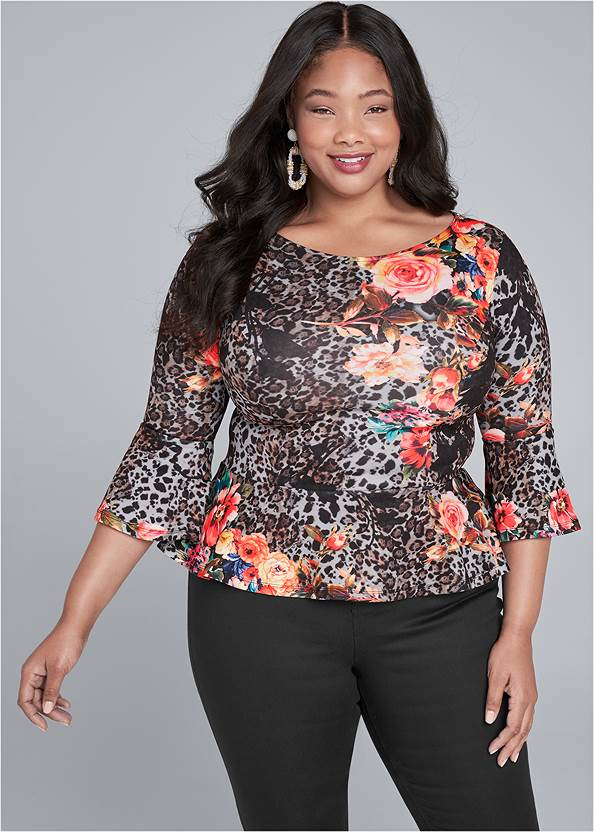 Floral And Leopard Print Peplum Top,Mid Rise Slimming Stretch Jeggings