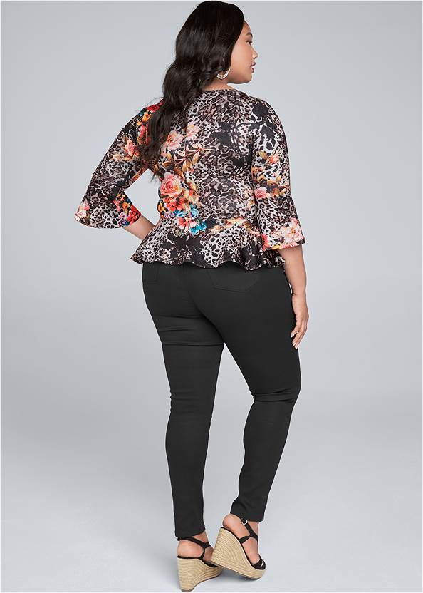 Back View Floral And Leopard Print Peplum Top