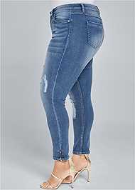 Back View Ripped Cropped Jeans