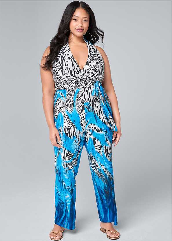 Mixed Print Halter Jumpsuit,Studded Flip Flops
