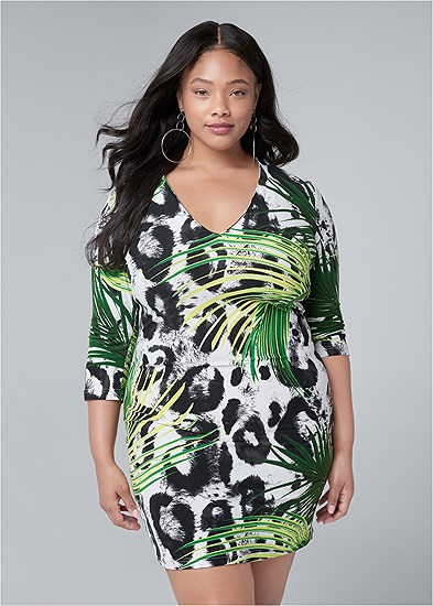 Plus Size Mixed Print Bodycon Dress
