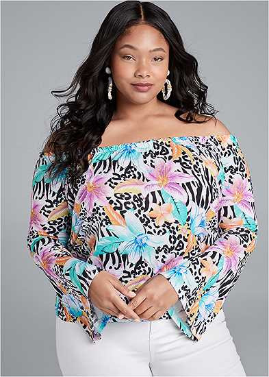Plus Size Flare Sleeve Printed Top
