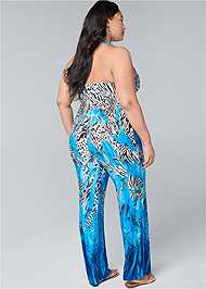 Back View Mixed Print Halter Jumpsuit