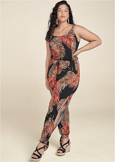 Plus Size Palm Printed Jumpsuit