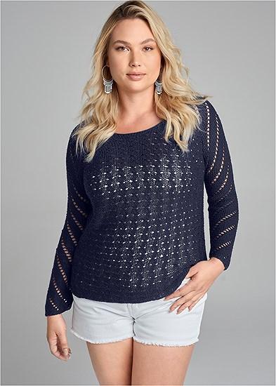 Plus Size Open Knit Sweater