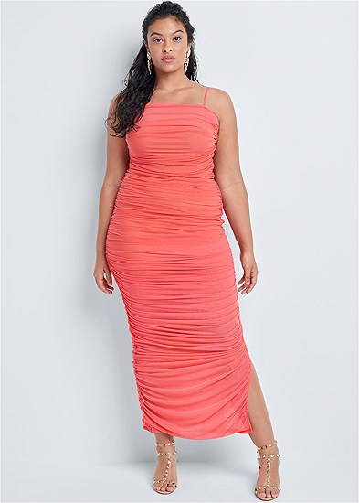 Plus Size Ruched Bodycon  Side Slit Maxi Dress