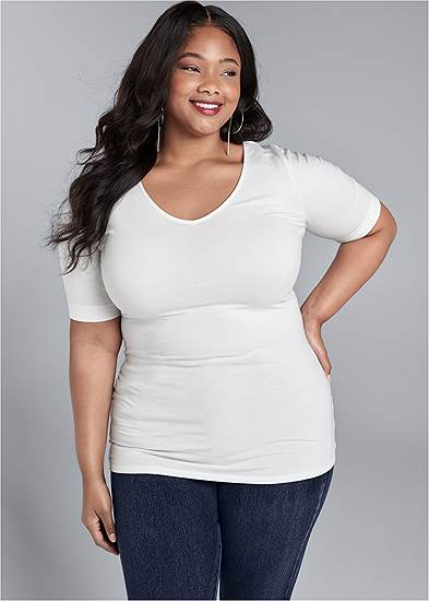 Plus Size Long And Lean V-Neck Tee