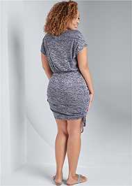 Back View Cozy Drawstring Tie Lounge Dress
