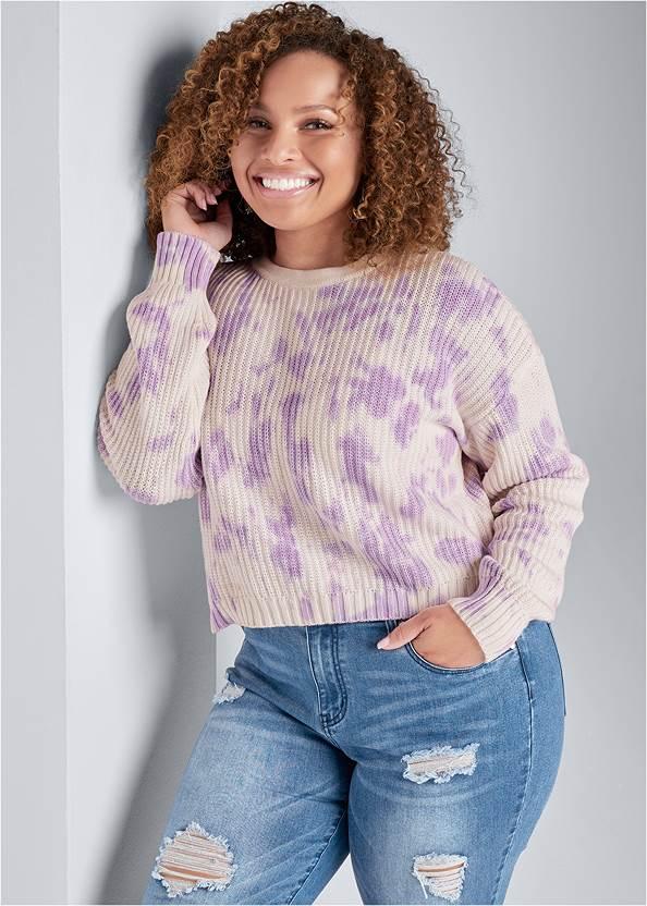 Oversized Tie Dye Sweater,Basic Cami Two Pack,Triangle Hem Jeans,Ripped Capri Jeans,Beaded Hoop Earrings
