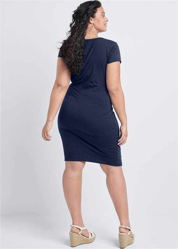 Back View Snap Front Casual Dress