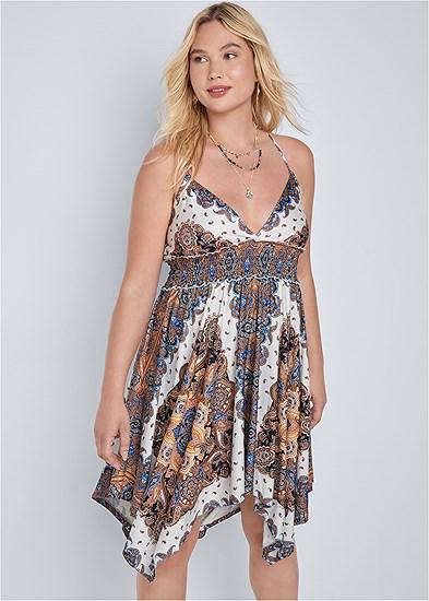 Plus Size Printed Handkerchief Dress