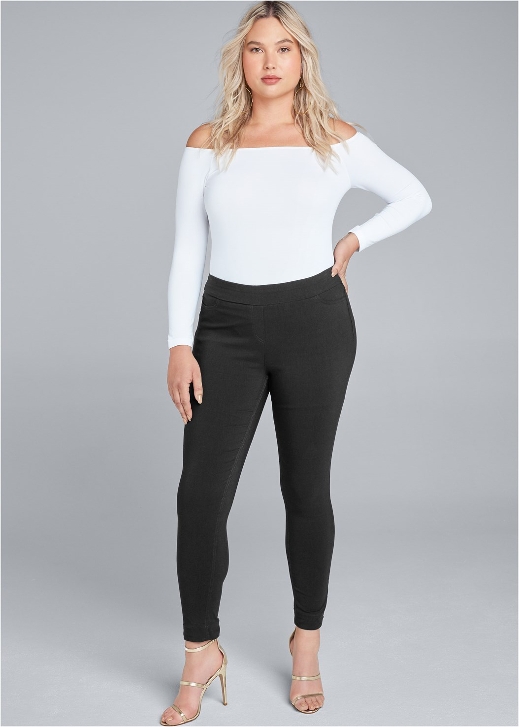 Mid Rise Slimming Stretch Jeggings,Off The Shoulder Top,Off The Shoulder Ring Top,Basic Cami Two Pack,High Heel Strappy Sandals