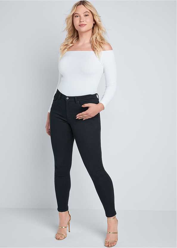 Mid Rise Color Skinny Jeans,Surplice Bodysuit,High Heel Strappy Sandals