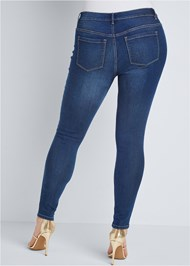 Cropped Front View Mid Rise Color Skinny Jeans