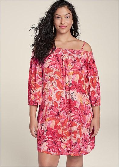 Plus Size Floral Cold Shoulder Dress