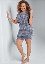 Front View Cozy Drawstring Tie Lounge Dress
