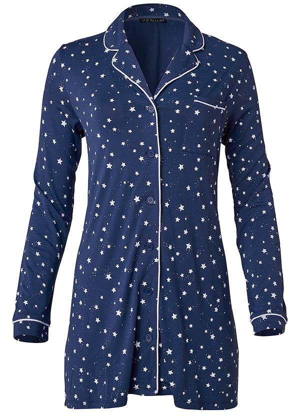 Ghost with background  view Button Down Sleepshirt