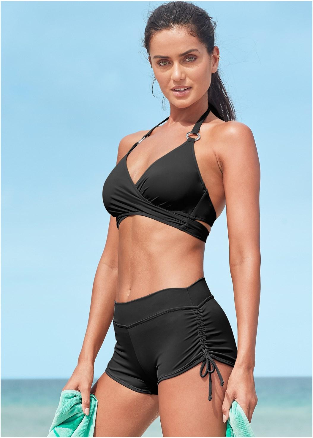 Underwire Wrap Top,Adjustable Side Swim Short,Sally Mid Rise Bottom,Scoop Front Classic Bikini Bottom ,Mid Rise Swim Skirt Bikini Bottom