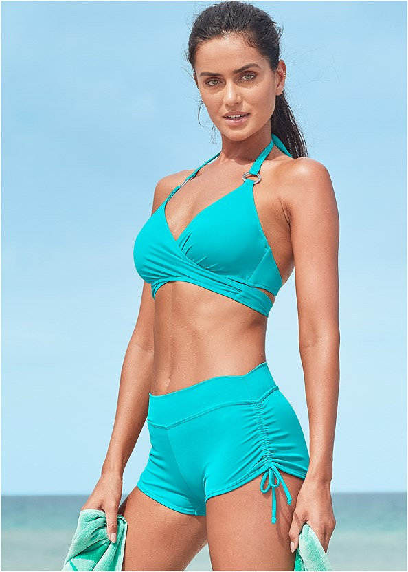 Underwire Wrap Top,Adjustable Side Swim Short,Scoop Front Classic Bikini Bottom ,Mid Rise Swim Skirt Bikini Bottom,Sally Mid Rise Bottom