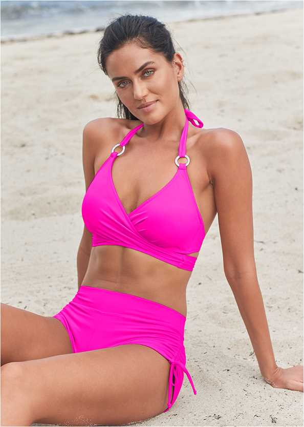 Adjustable Side Swim Short,Underwire Wrap Top,Lovely Lift Wrap Bikini Top,Marilyn Underwire Push Up Halter Top