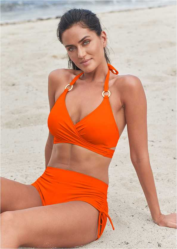 Underwire Wrap Top,Adjustable Side Swim Short,Scoop Front Classic Bikini Bottom ,Mid Rise Swim Skirt Bikini Bottom