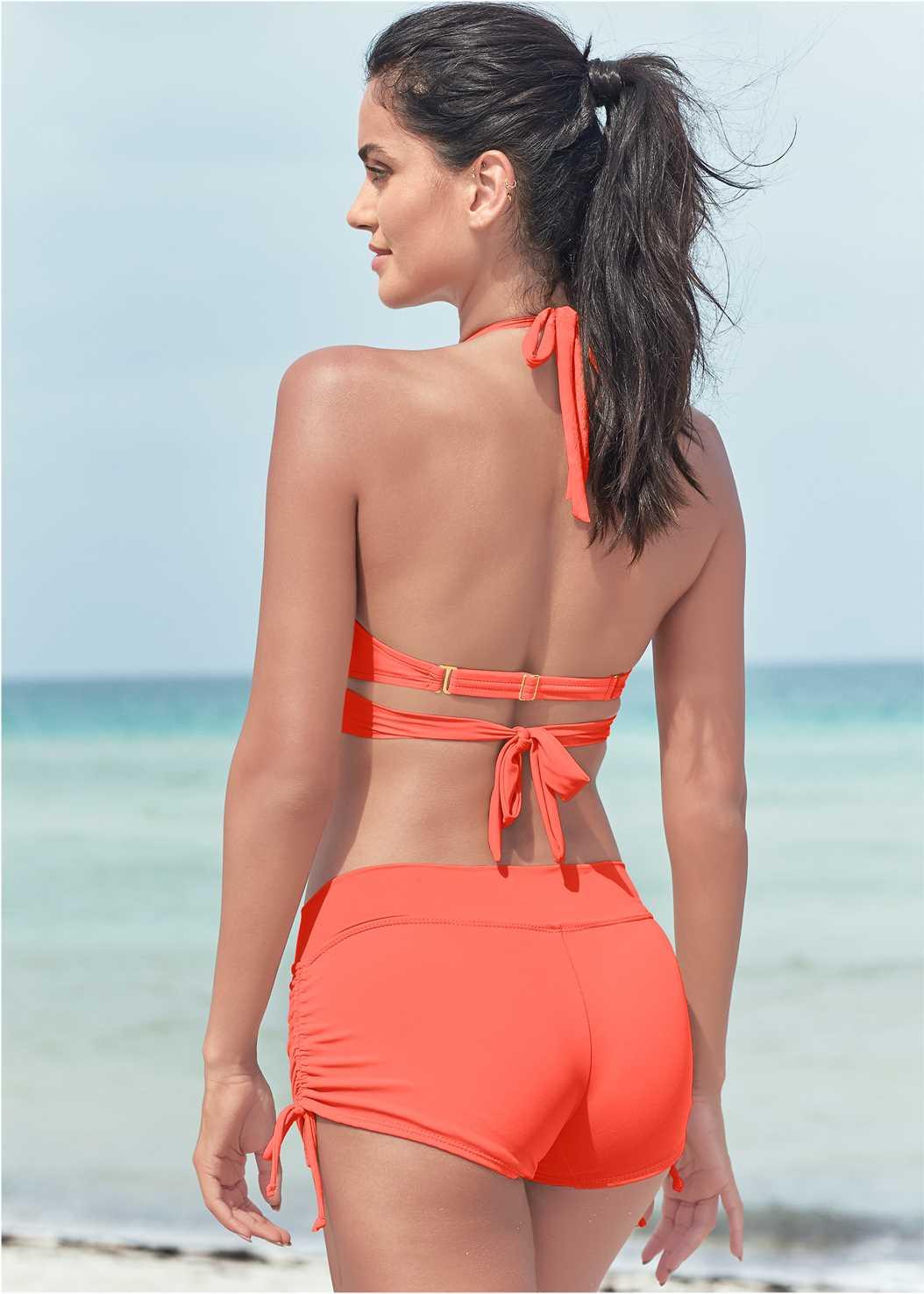 Underwire Wrap Top,Adjustable Side Swim Short,Scoop Front Classic Bikini Bottom