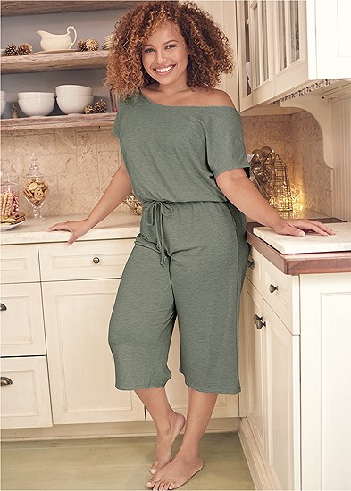 Plus Size Cozy Off Shoulder Jumpsuit