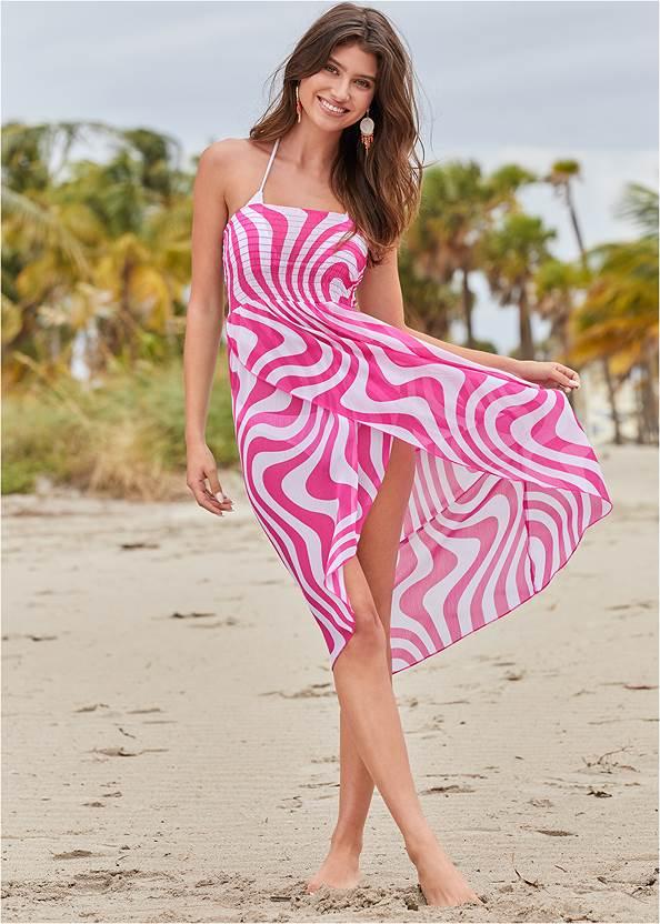 Convertible Cover-Up Dress,Triangle String Bikini Top,Scoop Front Classic Bikini Bottom ,Low Rise Classic Bikini Bottom ,Strappy Toe Ring Sandals