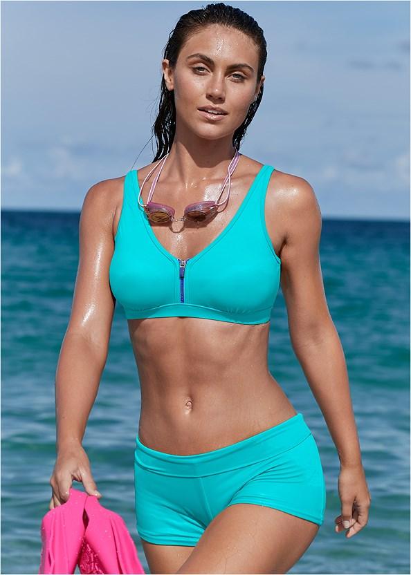 St Tropez Zip Up Top,Swim Short,Scoop Front Classic Bikini Bottom