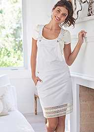 Full Front View Crochet Overall Lounge Dress