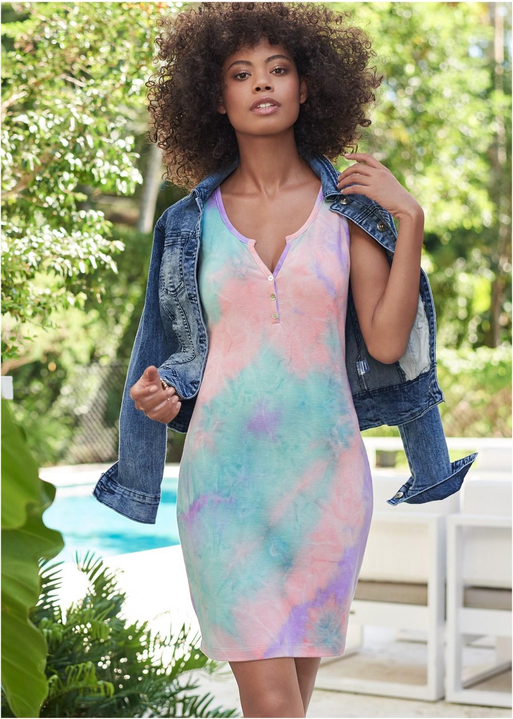 Tie Dye Button Front Lounge Dress,Jean Jacket,Cropped Puff Sleeve Denim Jacket,Rhinestone Flats,Stackable Beaded Bracelet