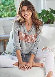 Front View Cozy Sequin Stripe Lounge Top