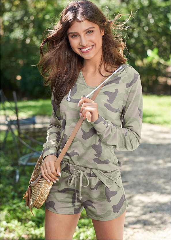 Lounge Hoodie Shorts Set,Camo Print Espadrille Sneaker,Sequin Straw Crossbody Bag