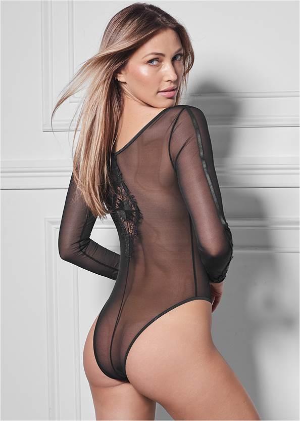 Cropped back view Sheer Long Sleeve Bodysuit