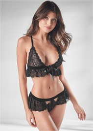 Cropped front view Lace Bralette Set
